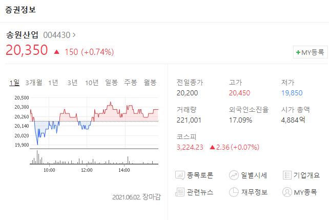 저평가 우량주 송원산업
